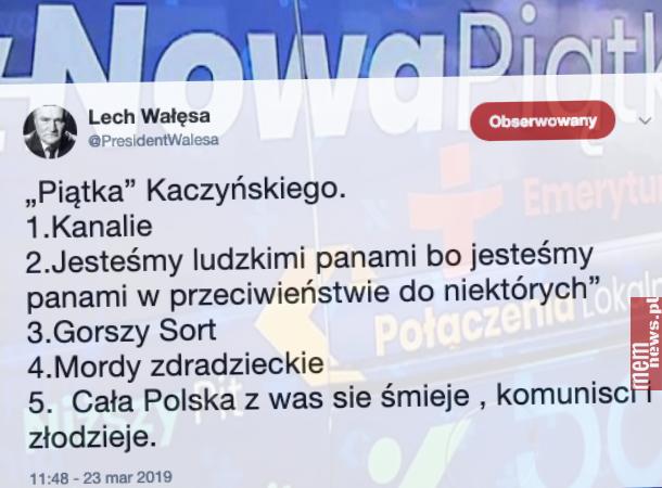 Lech Wałęsa ujawnia prawdziwą piątkę Kaczyńskiego